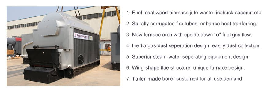 dzl chain grate boiler, coal steam boiler, water tube coal boiler